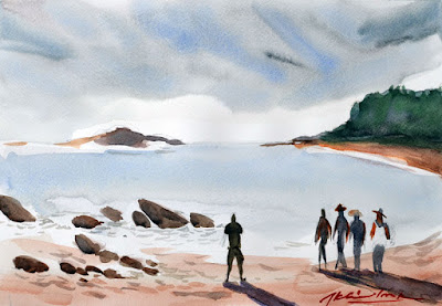 OM Beach, Gokarna, Karnataka, Watercolor on fabriano paper