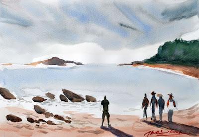 OM Beach, Gokarna, Karnataka, Watercolor on fabriano paper