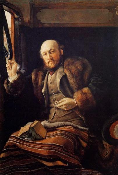 Cavalheiro em uma Carruagem de Comboio - As principais pinturas de James Tissot ~ Francês