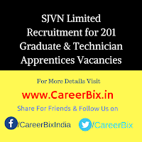 SJVN Limited Recruitment for 201 Graduate & Technician Apprentices Vacancies