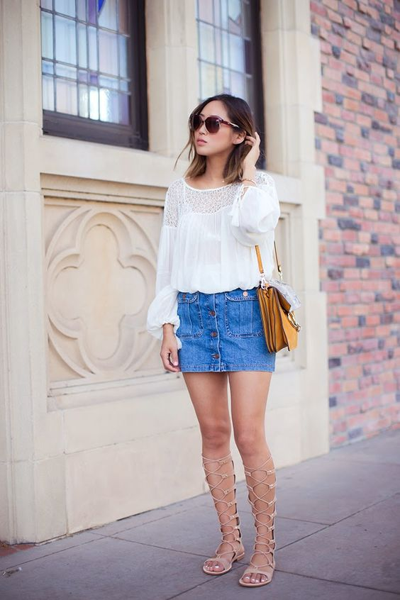 Aimee Song - Denim A Line Skirt + Chloe Faye Bag Suede python + Gladiator Sandals