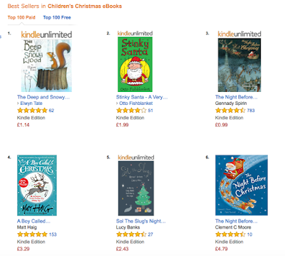 screenshot of stinky santa on bestseller list