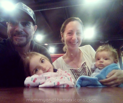 How We Coped With The End Of Maternity Leave With An 8-Week-Old Baby - Image Shows Family Selfie Dad, Mum, Big Sister And Baby Brother Sitting At A Restaurant Table