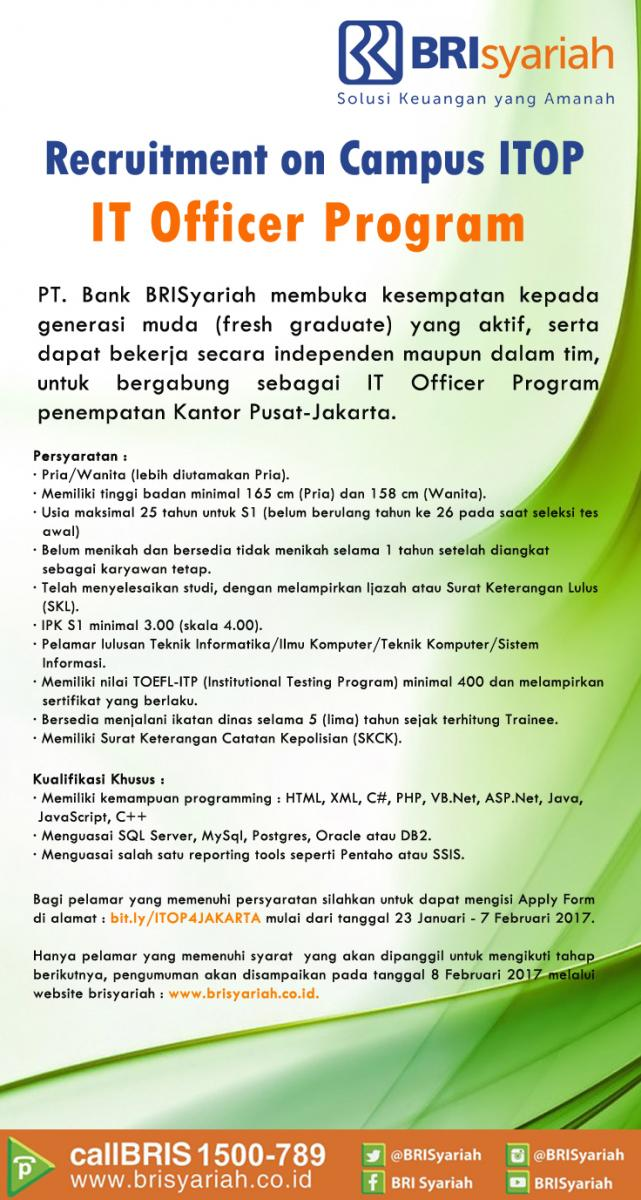 Penerimaan Pegawai Bank BRI Syariah IT Officer Program Februari 2017