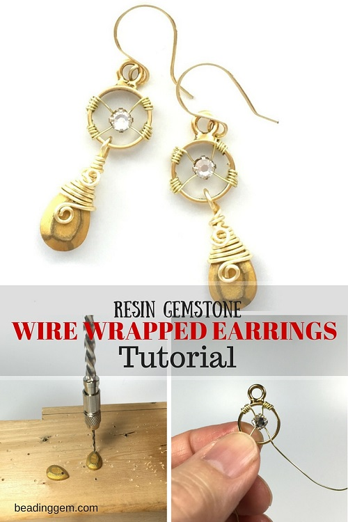Resin Gemstone Wire Wrapped Earrings Tutorial - The Beading Gem\'s ...