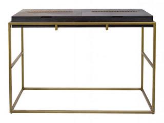 Recibidor Consola de diseño negro y dorado Balford