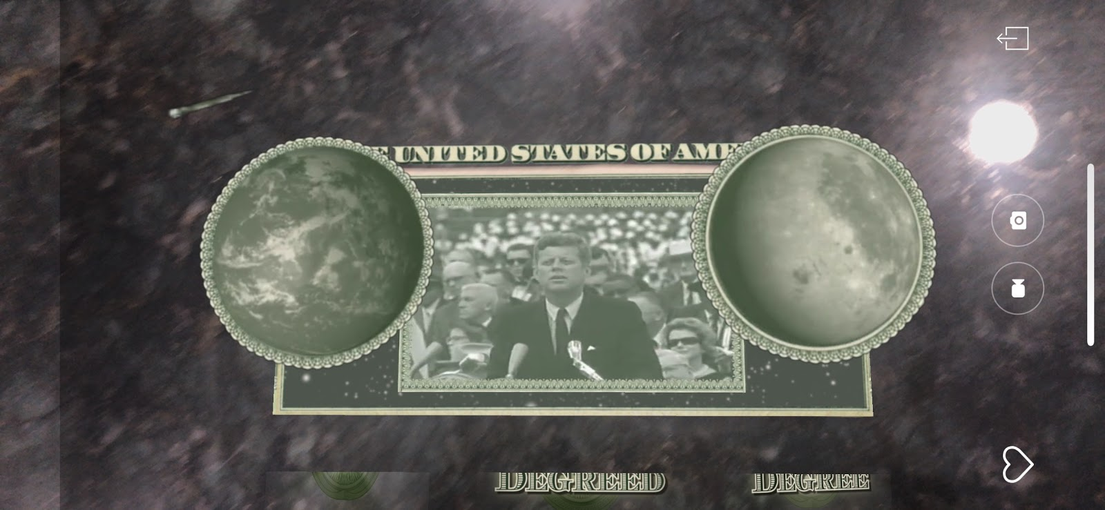 A quick glimpse of what pops up when you scan the back of any $1 bill with the HP Reveal app