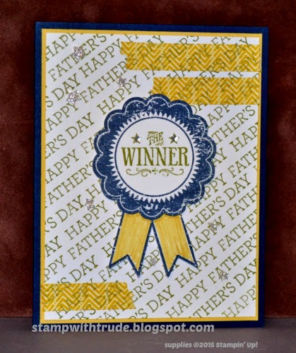 Crazy about you stamp set, Blue ribbon stamp set, stampwithtrude.blogspot.com, Trude Thoman, Stampin' Up!, Father's Day card