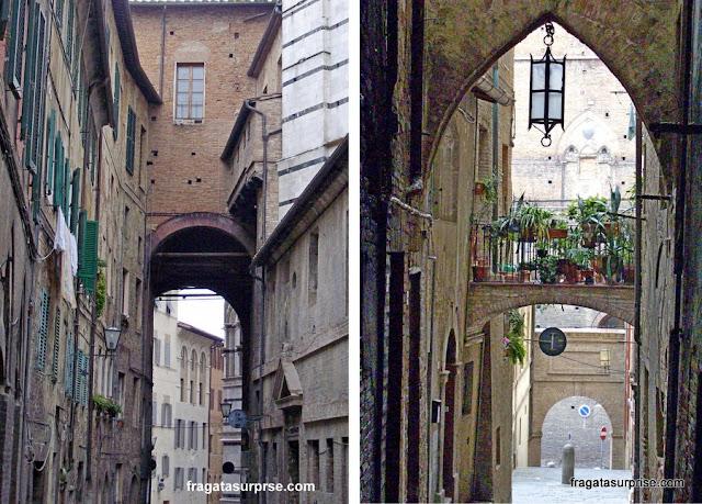 Ruas medievais do Ghetto de Siena, Itália