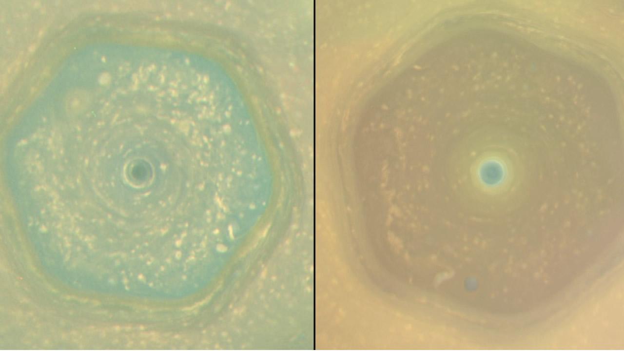 Cassini obtiene impactante imagen del hexágono de Saturno