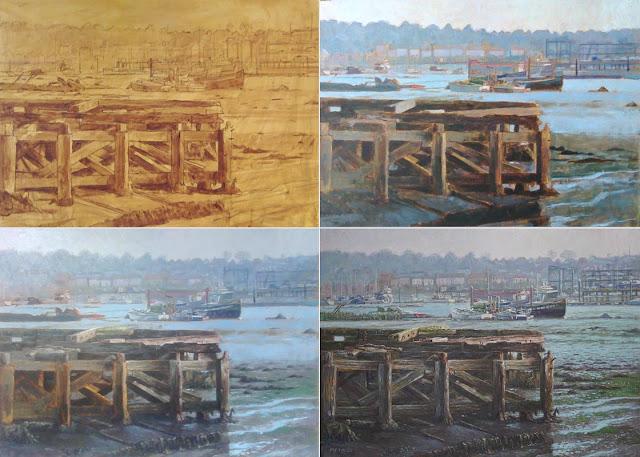 martin davey hampshire artist marine river Itchen WIP