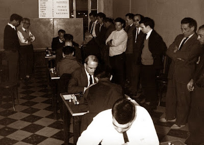Sala de juego en la segunda ronda del I Torneo Nacional de Ajedrez de Granollers 1964