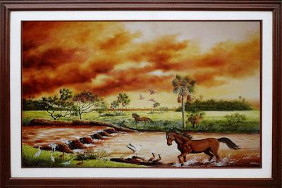 Oleos,paisaje, caballos