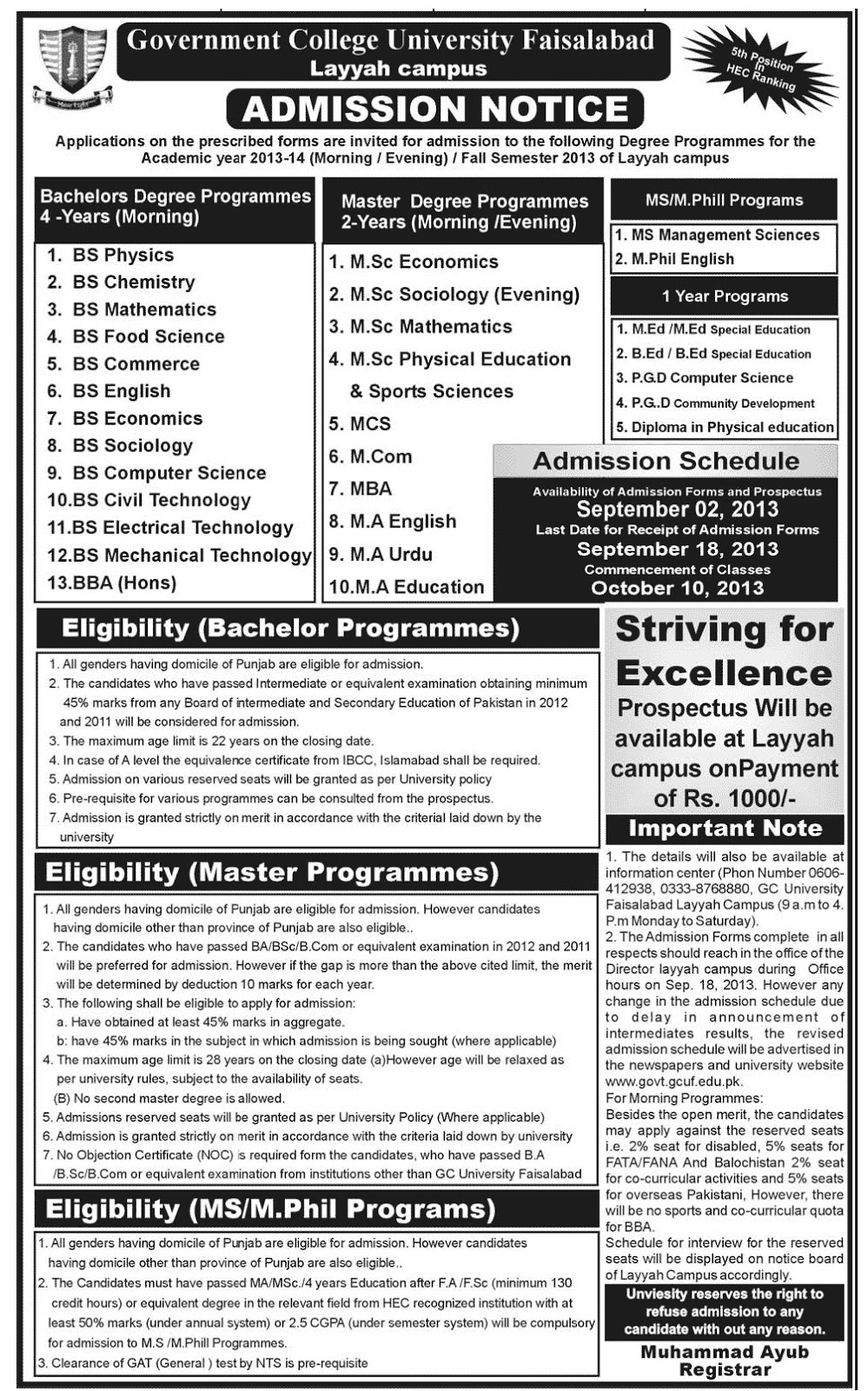 Government College Gcuf Faisalabad Admissions Paperspk - Www imagez co