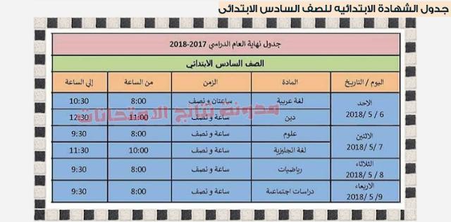 بالصوره جدول إمتحانات الشهادة الابتدائية بمحافظة الاسكندرية 2018 أخر العام - الترم الثانى