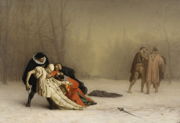 The Duel After the Masquerade by Jean-Léon Gérôme, Macabre Art, Macabre Paintings, Horror Paintings, Freak Art, Freak Paintings, Horror Picture, Terror Pictures