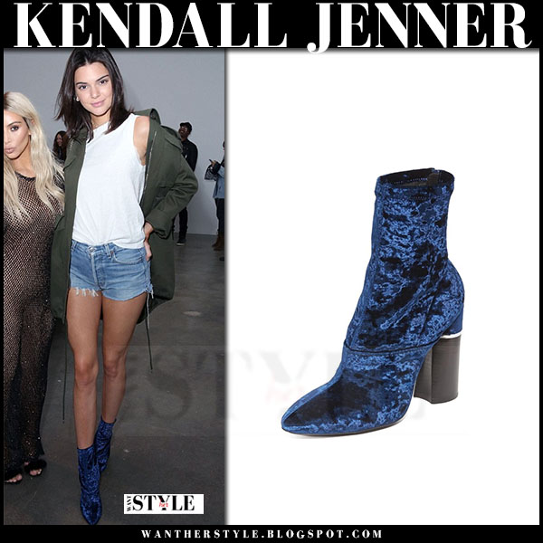Kendall Jenner in blue velvet ankle boots phillip lim kyoto what she wore