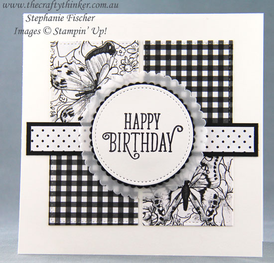 #thecraftythinker #stampinup #saleabration #cardmaing  #easycards , Botanical Butterfly, Sale-A-Bration, Black & White card trio, Stampin' Up Australia Demonstrator, Stephanie Fischer, Sydney NSW