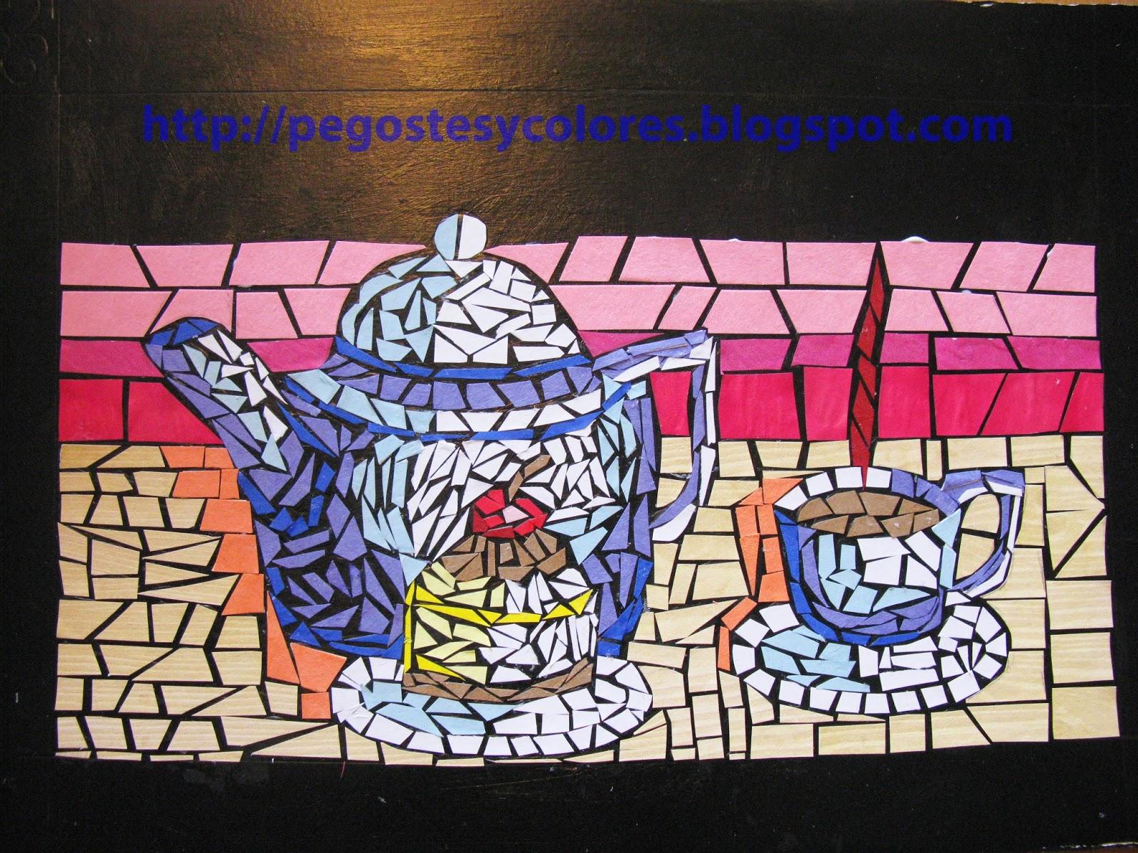 Pegostes y colores cuadro de mosaico de papel de tetera y taza - Mosaico de colores ...