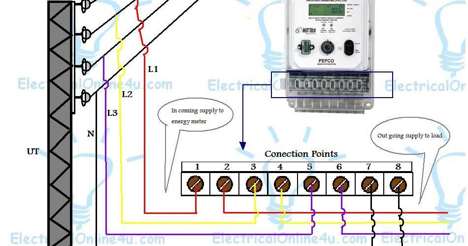 Home Wiring Diagram In Hindi Mercedes W124 Abs 3 Phase Energy Meter Connection Kwh Explanation | Electrical Tutorials Urdu -