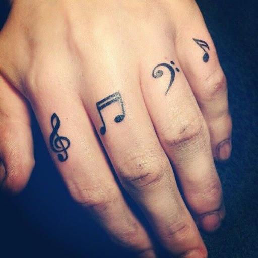 Bacana música desenhos de tatuagem