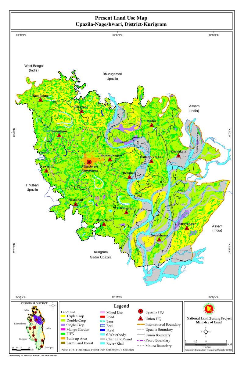 Nageshwari Upazila Mouza Map Kurigram District Bangladesh
