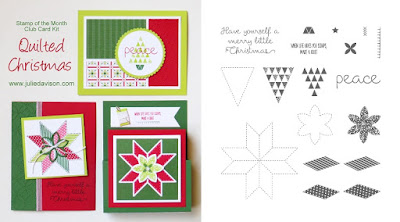 Stampin' Up! Christmas Quilt Card Kit for October Stamp of the Month Club by Julie Davison www.juliedavison.com/clubs ~ 2017 Holiday Catalog