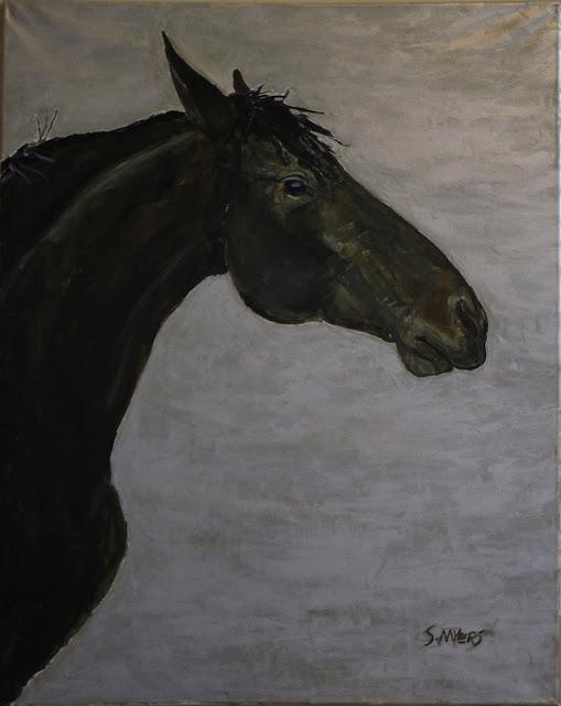horse, painting, art, arte, pintura, sarah, myers, animal, caballo, mane, eye, arch, silver, acrylic, large, dark, black, modern, contemporary, artist, paint, metallic, gray, grey, strong