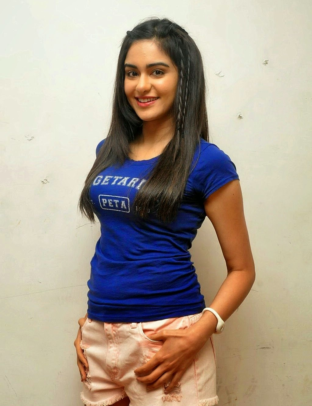 Adah Sharma Lovely In Blue Top And Denim Shorts