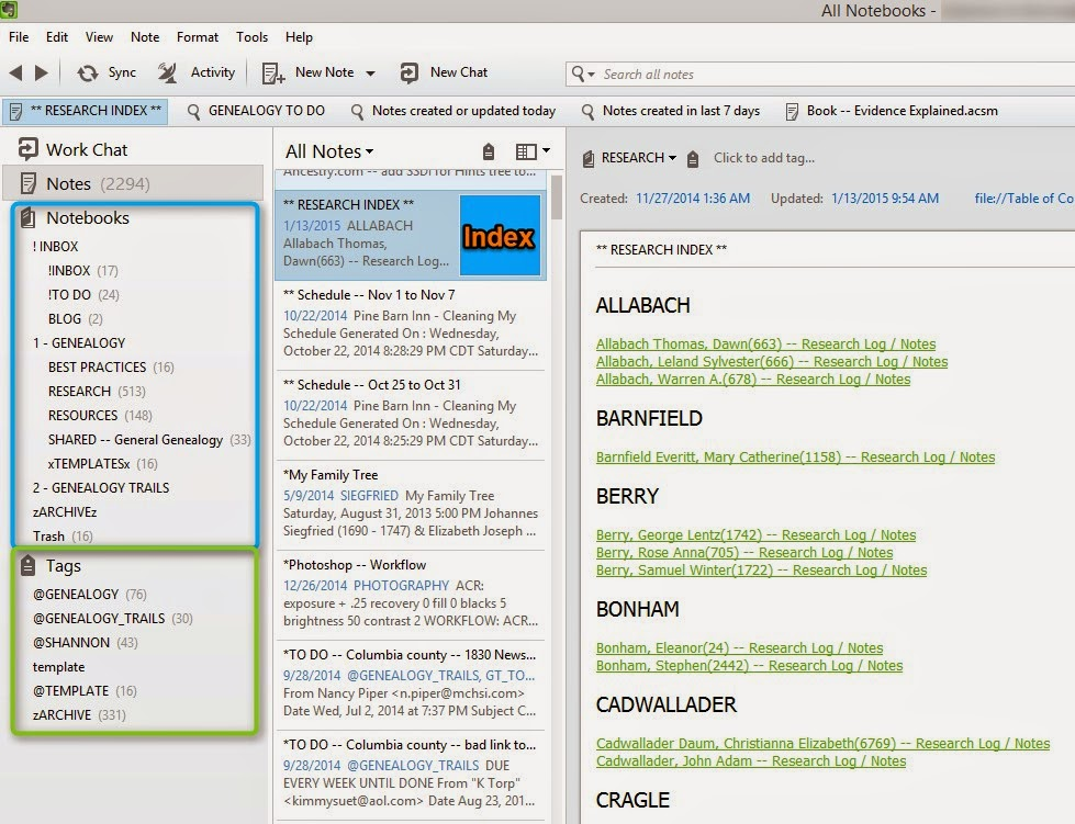 Tagging and Notebooks in Evernote
