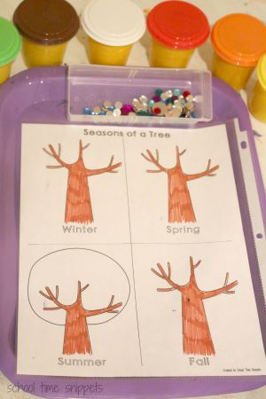 four seasons activity using play dough