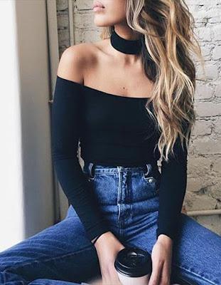 outfit tumblr con gargantilla negra