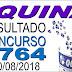 Resultado da Quina concurso 4764 (30/08/2018)
