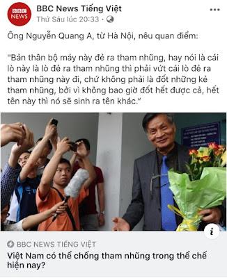 """""""Việt Nam không tự do làm sao chống tham nhũng?"""""""