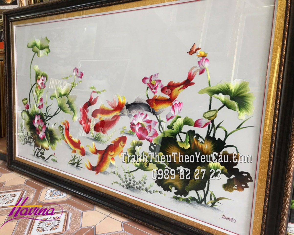 tranh cá chép hoa sen