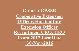 Gujarat GPSSB Cooperative Extension Officer, Horticulture Extension Officer Recruitment CEO, HEO Exam 2017 Last Date 30-Nov-2016