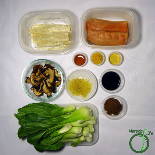 Morsels of Life - Miso Salmon with Bok Choy and Mushrooms Step 1 - Gather all materials.