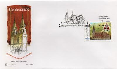 Sobre PDC de Madrid, del sello dedicado al Centenario de la Consagración de la Basílica de Covadonga