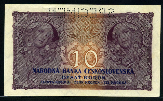 Czechoslovakia money currency banknotes 10 Czech korun Alphonse Mucha
