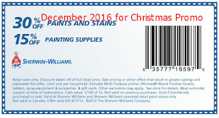 free Sherwin Williams coupons december 2016