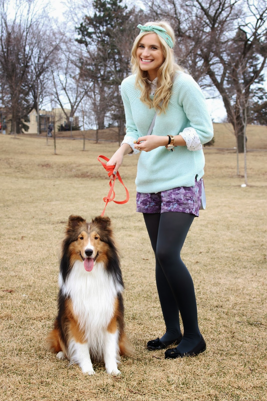 bijuleni - sheltie puppy and spring outfit look