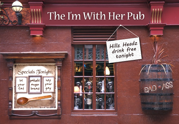 image of a pub Photoshopped to be named 'The I'm With Her Pub'