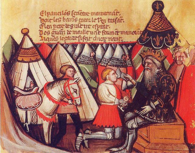 Carlos Magno aduba um cavaleiro, manuscrito século XIV.