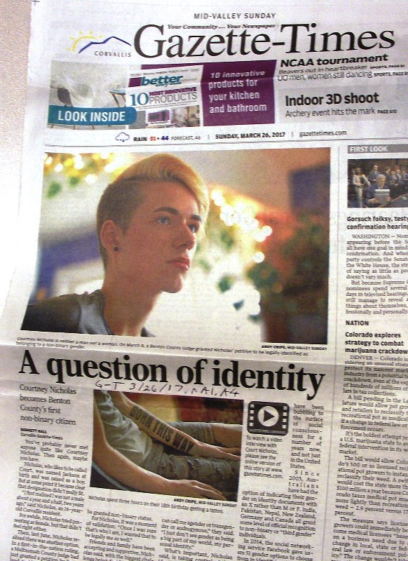 Non-binary gender person front page Corvallis Sunday newspaper Mar. 26, 2017, p. A1