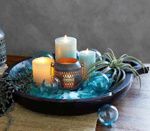 Seaglass Vase Filler Candle Decor Idea