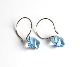 Minimalist Blue Crystal Flower Earrings