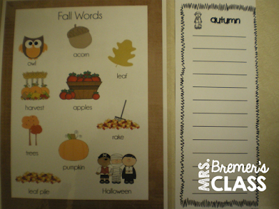 Fall themed writing center ideas and activities for Daily 5 work on writing for First Grade and Second Grade