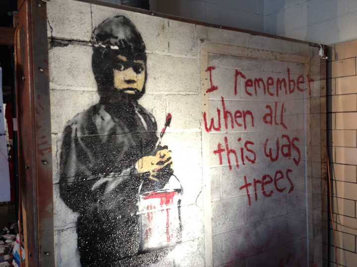 Banksy painting in the 555 Gallery Detroit, Michigan