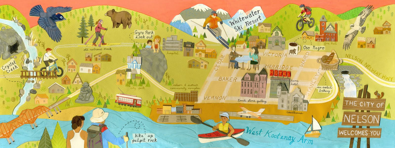 Map Of Nelson Bc Jessica Rae Gordon: Illustrated Map of Nelson, BC