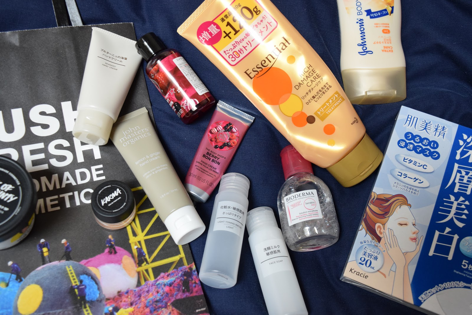 Japanese beauty products flatlay
